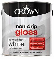 CROWN NON-DRIP GLOSS PAINT BRILLIANT WHITE 2.5 LTR