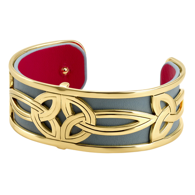 GOLD PLATED LEATHER DOUBLE TRINITY CUFF BANGLE(BOXED)