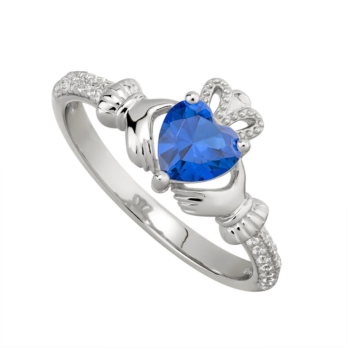 sterling silver claddagh ring september birthstone s2106209 from Solvar