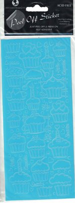 Cupcakes Baby Blue Peel-Off Stickers.