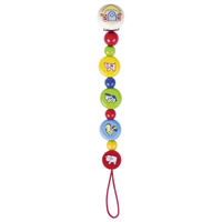Wooden farm animal pacifier chain for baby's soother