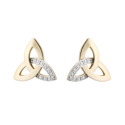 14K DIAMOND TRINITY STUD EARRINGS