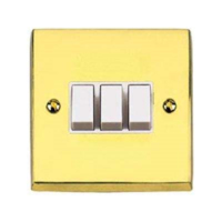 VICTORIAN BRASS HERITAGE SWITCH 3 GANG 2 WAY