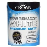 CROWN MATT EMULSION PAINT BRILLIANT WHITE 5 LTR