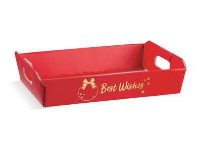 BOX TRAY 350x260x70 RED BEST WISHES