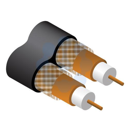 Sky Plus Twin Satellite Cable Black 100mtr Reel