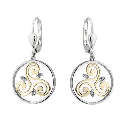 Silver and 10 karat Gold Diamond Spiral Circle Earrings S34117 from Solvar