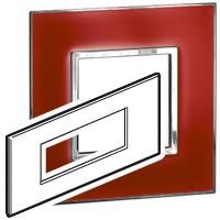 Arteor (British Standard) Plate 6 Module Square Mirror Red | LV0501.2773