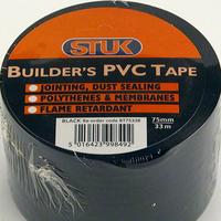 STUK 75 MM X 33 MTR BLACK BUILDERS PVC TAPE