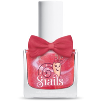 Pinky red kids-safe nail polish that washes off with soap and water.