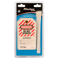 Master Lock Do not operate laminated safety tags in carded packaging, english