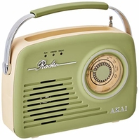 AKAI RETRO 2 BAND RADIO SAGE GREEN