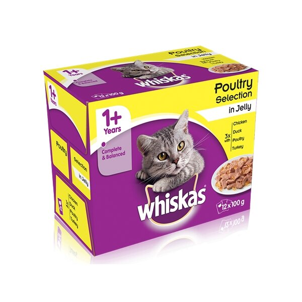 Whiskas 1+ Poultry Selection in Jelly 4 x 12 x 100g