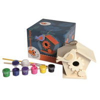 Paint your own wooden bird-house set for children