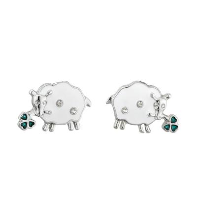 RHODIUM ENAMEL & CRYS SHEEP STUD EARRINGS