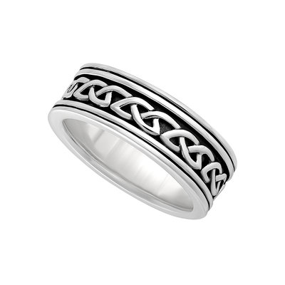 GENTS SILVER OXIDISED CELTIC KNOT RING