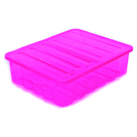 40L Underbed Storage Box Tint Pink W/Folding Lid