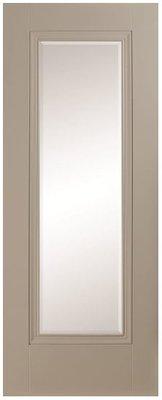 Prague 1 Lite Silk Grey Clear Bevelled Glass Premium Primed 1981x610mm (78x24 inch)