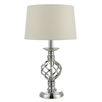 Iffley Table Lamp Chrome Twist Cage Base with Ivory Shade