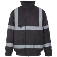 Supertouch Security Bomber Jacket with Tape, Black