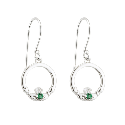 S/S GREEN CRYSTAL CLADDAGH DROP EARRINGS(BOXED)