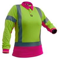 Ladies Hi Vis Day/Night Long Sleeve Microvent Premium Polo