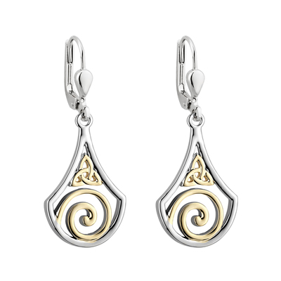 TWO TONE TRINITY SWIRL DROP EARRINGS