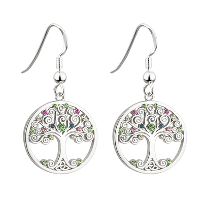 RHODIUM CRYSTAL TREE OF LIFE DROP EARRINGS