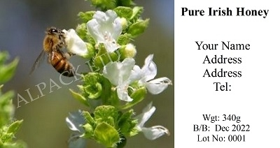 White Flower & Bee label