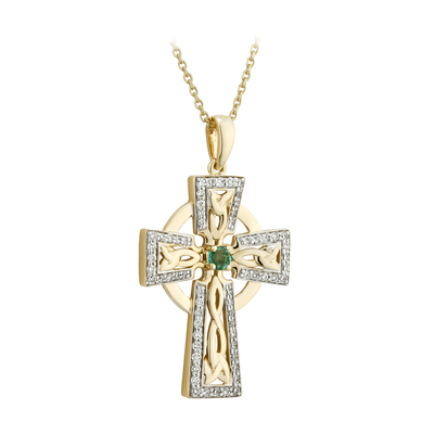 14K DIAMOND & EM LARGE CROSS PENDANT