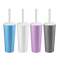Mixed Colour Round Closed Toilet Brush & Handle