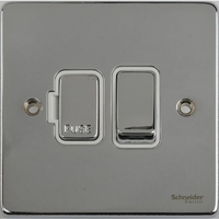 Schneider Ultimate Low Profie Fused Spur with Switch Polished Chrome with White Insert  | LV0701.0049