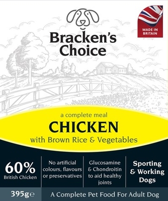 Bracken's Choice Working Dog Trays - Chicken and Brown Rice & Veg 395g x 10 [Zero VAT]