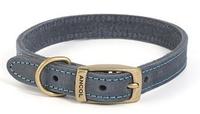 "Ancol Timberwolf Leather Collar Blue 22"" x 1"