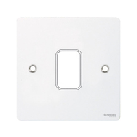 Flat cover plate 1g White metal c/w mount frame|LV0701.0985