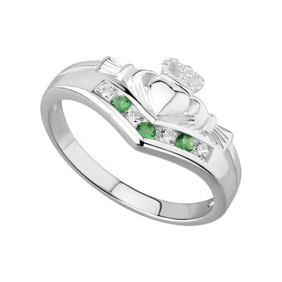 EMERALD & CUBIC ZIRCONIA CLADDAGH WISHBONE  RING