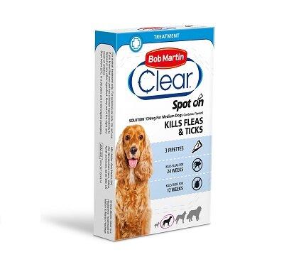 Bob Martin Flea Clear Medium Dog 24Wk (10-20kg) 3 x 6