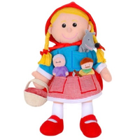 Red Riding Hood hand puppet with three finger puppets - the big bad wolf, granny, and the woodcutter