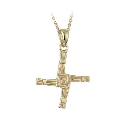 10 carat gold Saint Brigid's cross pendant come on  18 inches 10 karat gold sing chain