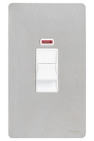 Schneider Ultimate Screwless Tall Cooker Double Pole Switch + Neon Stainless Steel white|LV0701.0935