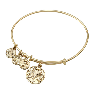 GOLD TONE SHAMROCK CHARM BANGLE