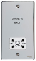 Schneider Ultimate Low Profile Shaver Socket Polished Chrome with White Insert | LV0701.0048