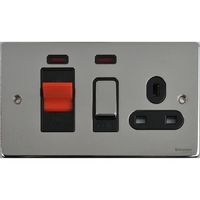 Schneider Ultimate Low Profile small cooker switch with neon Polished Chrome with Black Insert | LV0701.0242