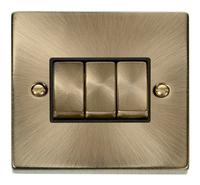 Deco Antique Brass 10A 3G 2W Switch