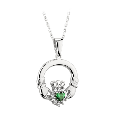SILVER CUBIC ZIRCONIA GREEN CLUSTER CLADDAGH PENDANT