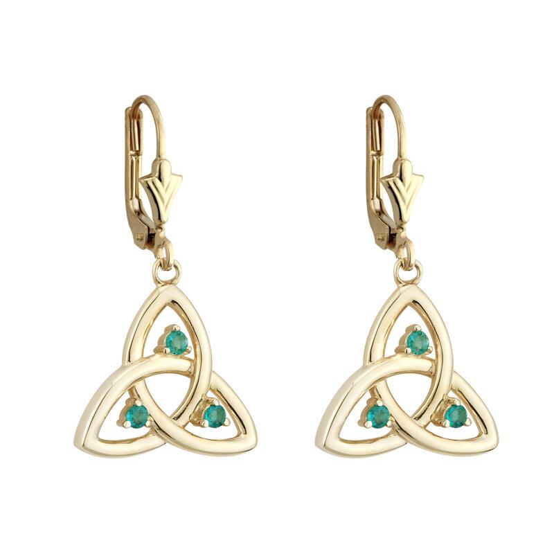 14K gold emerald trinity knot drop earrings s33500 from Solvar