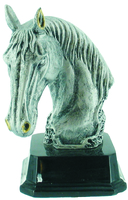 12.5cm Horse Head - Antique Silver/Gold Trim