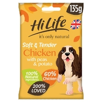 HiLife 'ION' Soft & Tender Complete Dog Chicken, Peas & Potato 135g x 12
