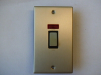 45A 2 Gang Cooker Switch with Neon Satin Chrome