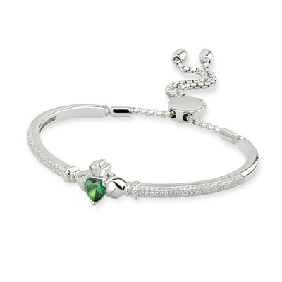 SILVER CUBIC ZIRCONIA CLADDAGH DRAW STRING BANGLE (BOXED)